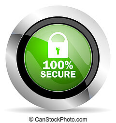secure icon, green button