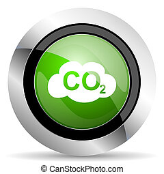 carbon dioxide icon, green button, co2 sign