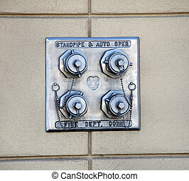 Standpipe FDC, Dry standpipe outlets by a driveway at a...