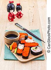 japonés, Sushi, tradicional, Comida.,