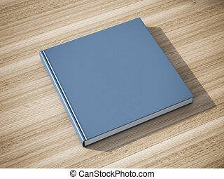 Blue book on the table