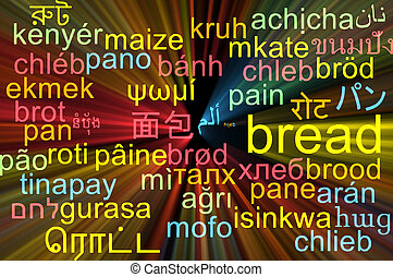 Bread multilanguage wordcloud background concept glowing