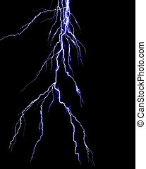 Lightning flash on black background