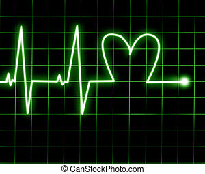 Heart rate recorded on heart monitor
