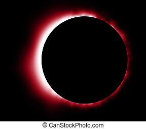 Glowing red eclipse