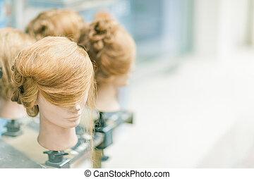 peluca, en, maniquí, colocado, en, el, calle, Hong,...