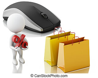3d white people with computer mouse. E-commerce concept