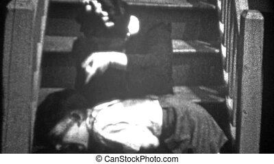 NEW YORK CITY - 1943: Boy spanked - Original vintage 8mm...