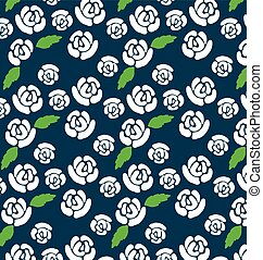 Pattern of white roses on a dark background