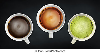 beverage background - coffee and tea close-up image