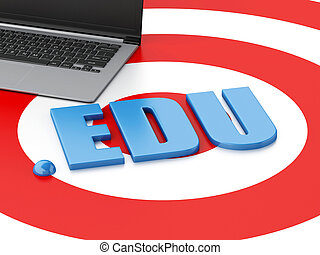 3d Laptop pc and word EDU on target - 3d renderer image...