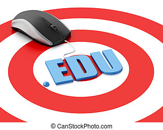 3d computer mouse and word EDU on target - 3d renderer image...