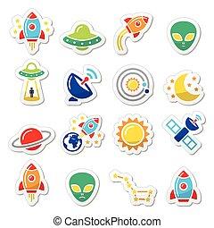 Alien, space travel icons set