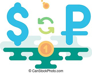 Dollar Rouble Currency Exchange concept vector illustration...