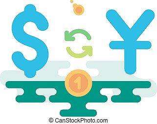 Dollar Yuan Currency Exchange concept vector illustration...