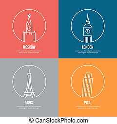 Vector landmarks line art posters. Leaning and Eiffel tower,...