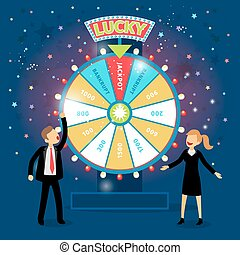 Business people with financial wheel of fortune. Gambling...