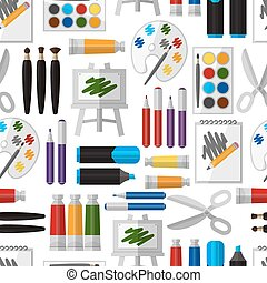 Artistic tool seamless pattern Paintbrush and tool, design...