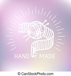 Hand made logo Ball of yarn with two knitting needles Vector...