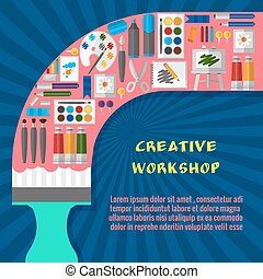 Creative workshop poster template Paintbrush and tool,...