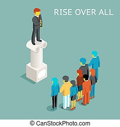 Orator public speech. Flat isometric vector illustration -...