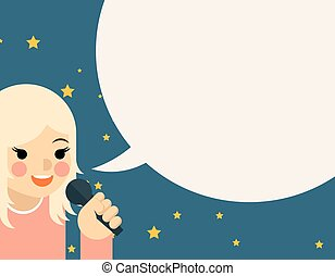 Woman with microphone. Speech and communication, girl young...