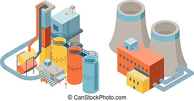 Industrial factory buildings, 3d isometric flat icons....