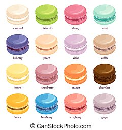 Macaron or macaroon icon set, french pastries with different...