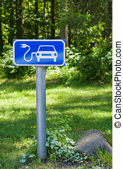 Ecology friendly electric car charging station road sign
