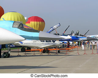 Fighter aircraft at MAKS exhibition - Fighter aircraft plane...