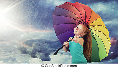 Redhead girl in the heavy rain - Ginger girl in the heavy...