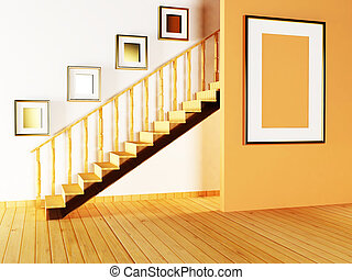 staircase and paintings in the room
