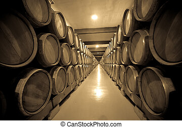 Vintage photo of old cellar with  wine barrels