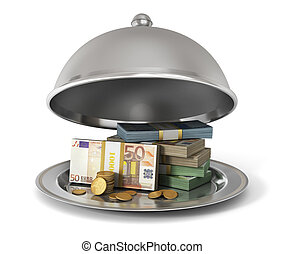 Silver Restaurant cloche with banknotes and coins on a white...