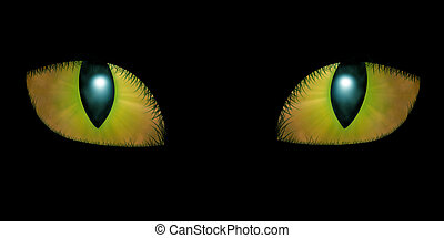 Two feline eyes on black background
