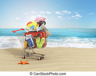 Shopping cart with beach accessories on the beach line....