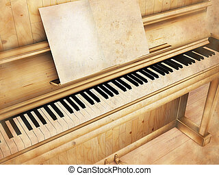 antique piano, rendering