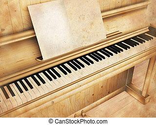antique piano, rendering