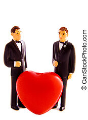 Gay wedding - Two male figures with in the middle a hart on...