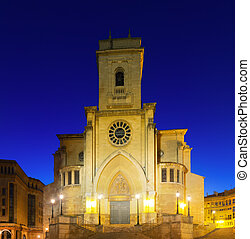 Albacete Cathedral in evening Castile-La Mancha, Spain -...