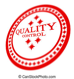 Red quality control stamp on white background