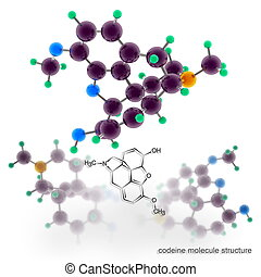 Codeine molecule structure Three dimensional model render