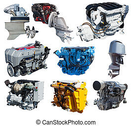 Set of engines of speedboat. Isolated over white - Set of...