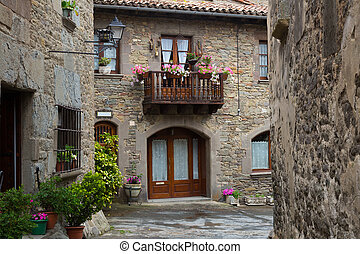 picturesque houses in old catalan village