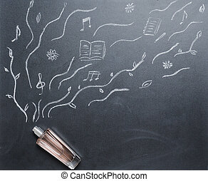 fragrance bottle with drowing smell on the blackboard from...