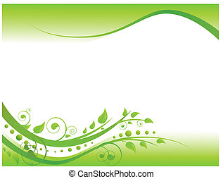 Illustration of floral border in green with copy-space for...