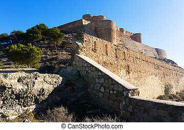 Day view of castle of Chinchilla Province of Albacete, Spain...