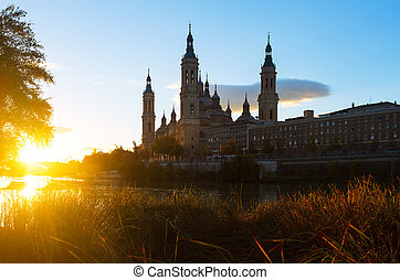 Cathedral from Ebro river in sunny morning Zaragoza, Aragon