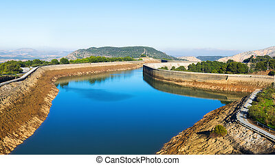 Day view  Guadalhorce-Guadalteba reservoirs.  Andalusia,