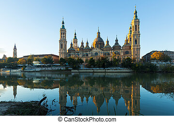 Cathedral from Ebro river in morning Zaragoza, Aragon